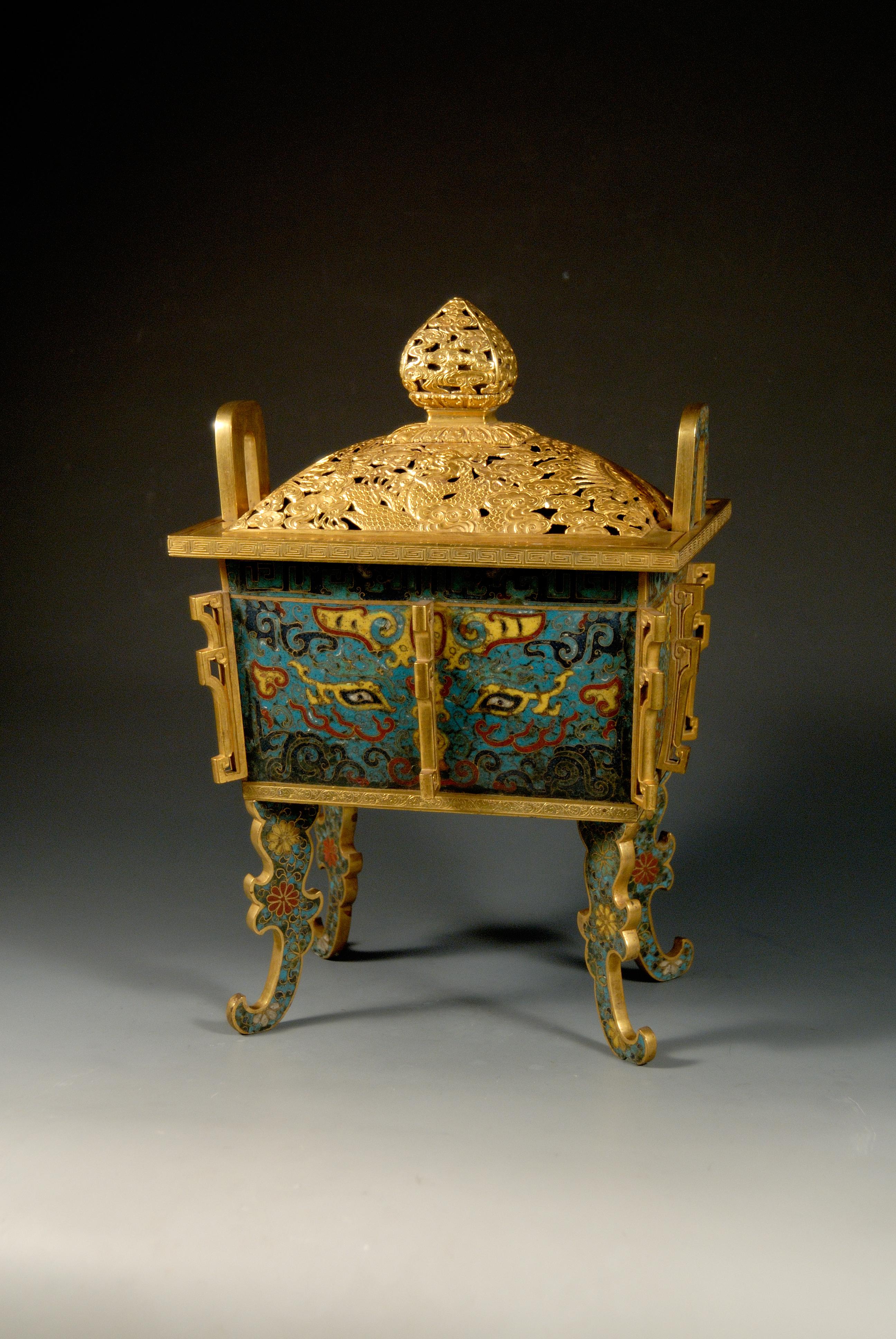 Gilded enamel stove. China, Ming Dynasty