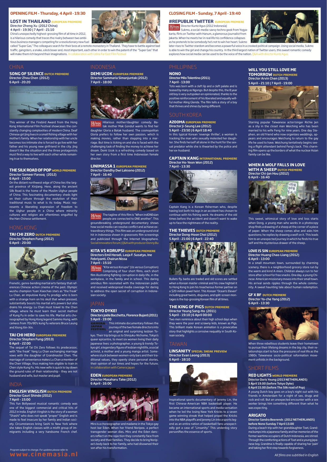 Program Cinemasia 2013