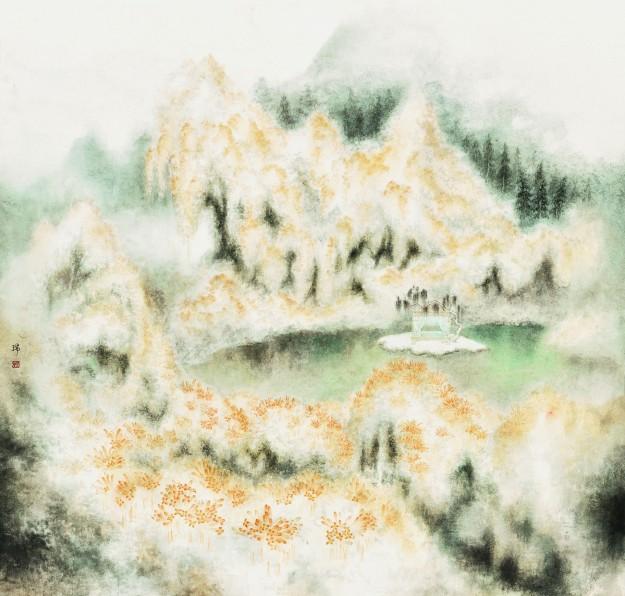 橘簾 Flaming Trumpet 水墨設色紙本 Ink and colour on silk, 93cm x 97cm (2015)